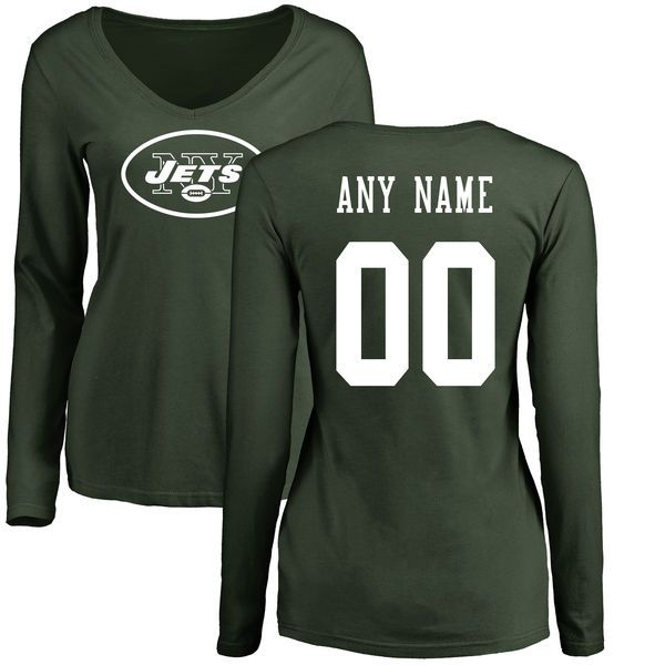 Women New York Jets NFL Pro Line Green Custom Name and Number Logo Slim Fit Long Sleeve T-Shirt