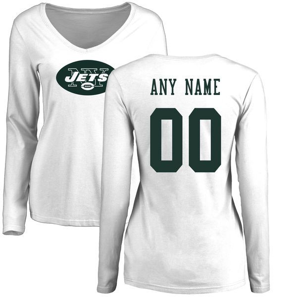 Women New York Jets NFL Pro Line White Custom Name and Number Logo Slim Fit Long Sleeve T-Shirt