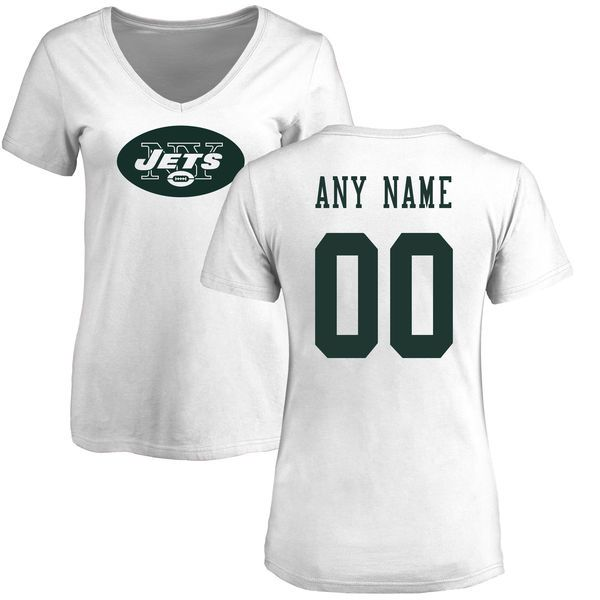 Women New York Jets NFL Pro Line White Custom Name and Number Logo Slim Fit T-Shirt