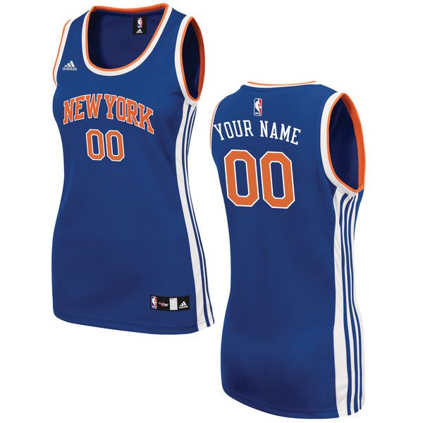 Women New York Knicks Adidas Royal Custom 2015 Road Replica NBA Jersey