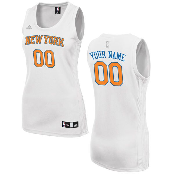 Women New York Knicks Adidas White Custom Fashion NBA Jersey