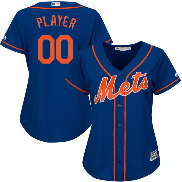 Women New York Mets Majestic Royal Blue Alternate Cool Base Custom MLB Jersey