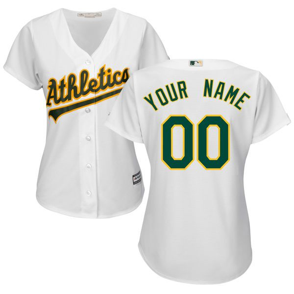 Women Oakland Athletics Majestic White Home Cool Base Custom MLB Jersey