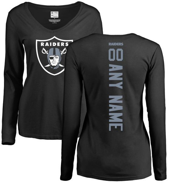 Women Oakland Raiders NFL Pro Line Black Custom Backer Slim Fit Long Sleeve T-Shirt