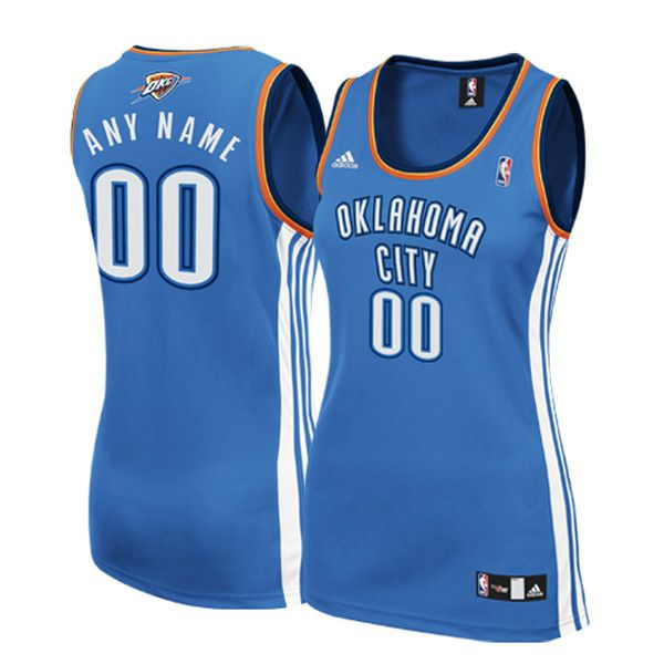 Women Oklahoma City Thunder Adidas Royal Custom Replica Road NBA Jersey