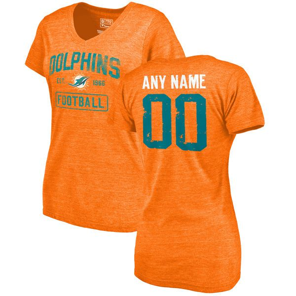 Women Orange Miami Dolphins Distressed Custom Name and Number Tri-Blend V-Neck NFL T-Shirt