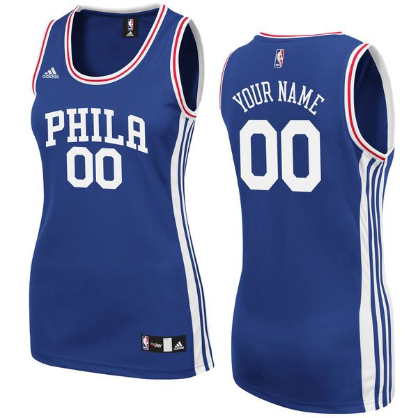Women Philadelphia 76ers Adidas Royal Custom Replica Road NBA Jersey