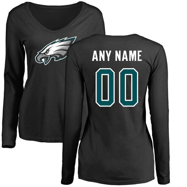 Women Philadelphia Eagles NFL Pro Line Black Custom Name and Number Logo Slim Fit Long Sleeve T-Shirt