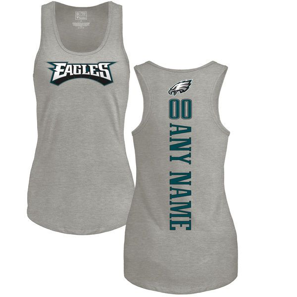 Women Philadelphia Eagles NFL Pro Line by Fanatics Branded Ash Custom Backer Tri-Blend Tank Top T-Shirt