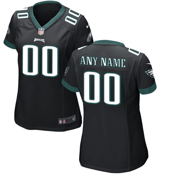 Women Philadelphia Eagles Nike Black Custom Game NFL Jersey