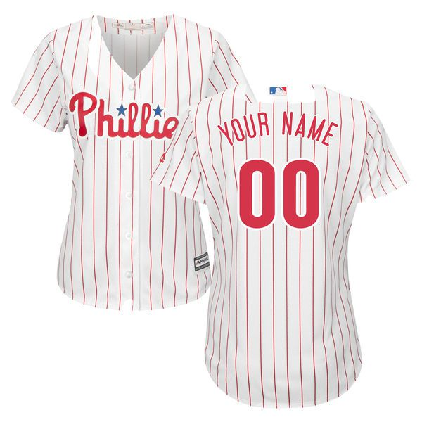 Women Philadelphia Phillies Majestic White Red Home Cool Base Custom MLB Jersey