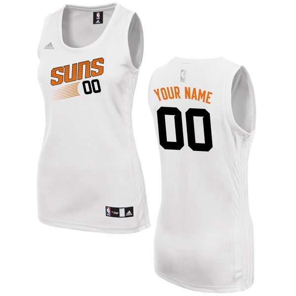 Women Phoenix Suns Adidas White Custom Fashion NBA Jersey
