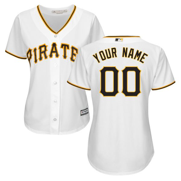Women Pittsburgh Pirates Majestic White Home Cool Base Custom MLB Jersey