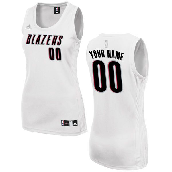 Women Portland Trail Blazers Adidas White Custom Fashion NBA Jersey