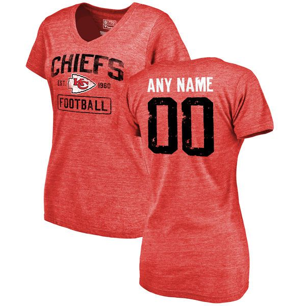 Women Red Kansas City Chiefs Distressed Custom Name and Number Tri-Blend V-Neck NFL T-Shirt