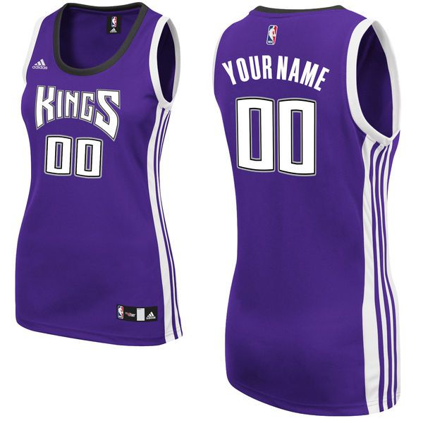 Women Sacramento Kings Adidas Purple Custom Replica Road NBA Jersey