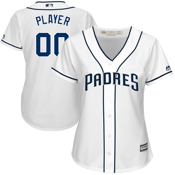 Women San Diego Padres Majestic White 2017 Cool Base Custom Baseball MLB Jersey