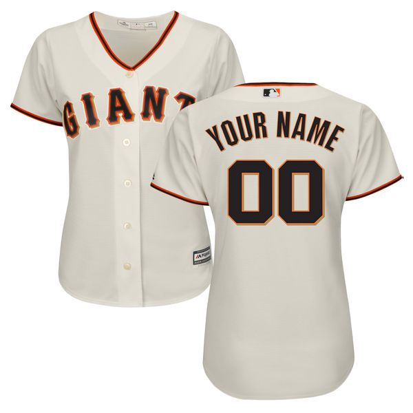 Women San Francisco Giants Majestic Cream Home Cool Base Custom MLB Jersey