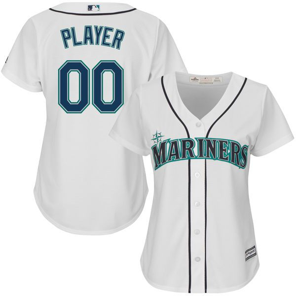 Women Seattle Mariners Majestic White Home Cool Base Custom MLB Jersey