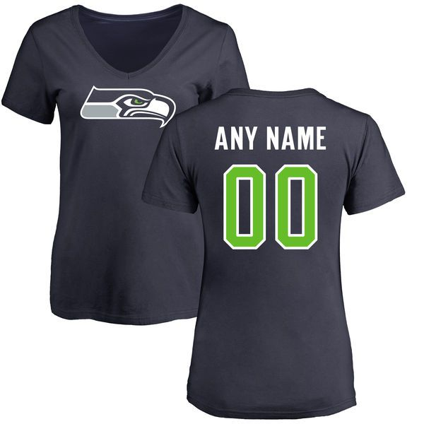 Women Seattle Seahawks NFL Pro Line Navy Any Name and Number Logo Custom Slim Fit T-Shirt