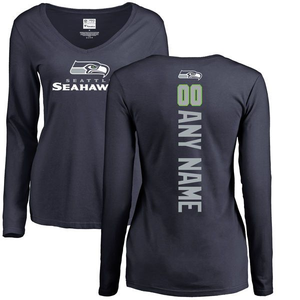 Women Seattle Seahawks NFL Pro Line Navy Custom Backer Slim Fit Long Sleeve T-Shirt