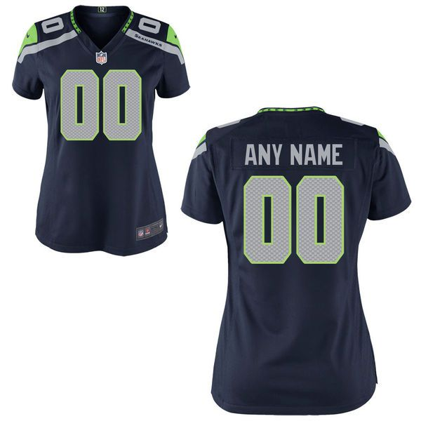 Women Seattle Seahawks Nike College Navy Custom Game NFL Jersey