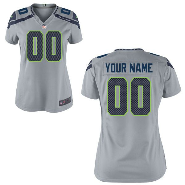 Women Seattle Seahawks Nike Custom Gray Game NFL Jersey