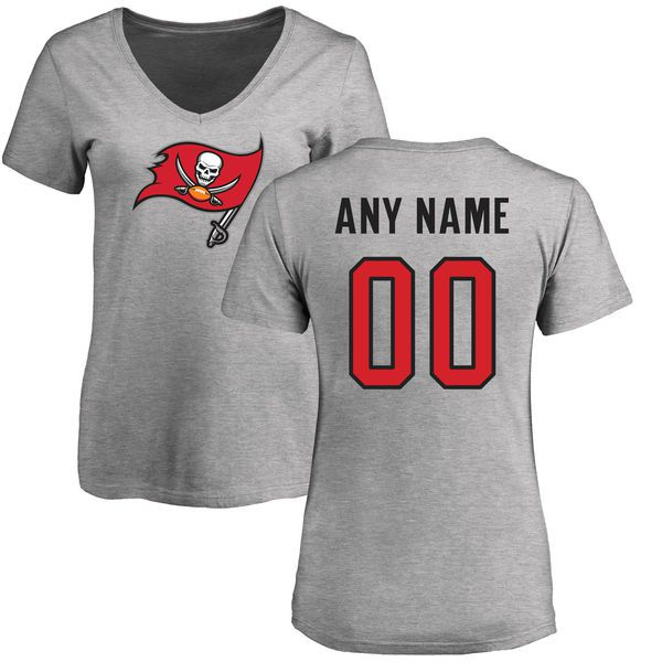 Women Tampa Bay Buccaneers NFL Pro Line Ash Custom Name and Number Logo Slim Fit T-Shirt
