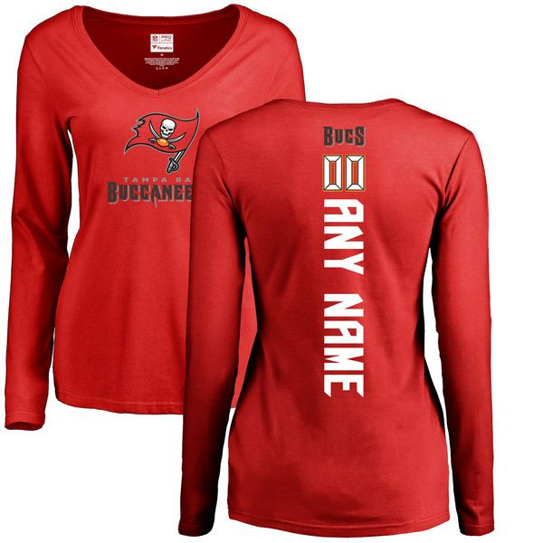 Women Tampa Bay Buccaneers NFL Pro Line Red Custom Backer Slim Fit Long Sleeve T-Shirt