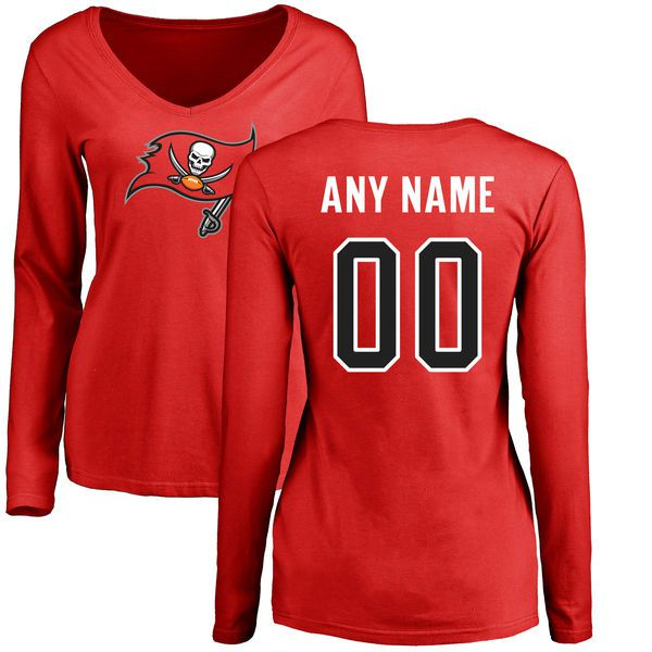 Women Tampa Bay Buccaneers Red Any Name and Number Logo Slim Fit Long Sleeve Custom NFL T-Shirt
