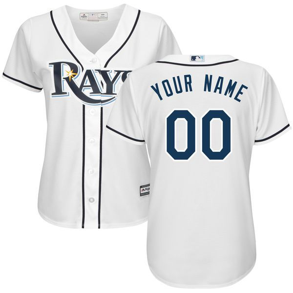 Women Tampa Bay Rays Majestic White Home Cool Base Custom MLB Jersey