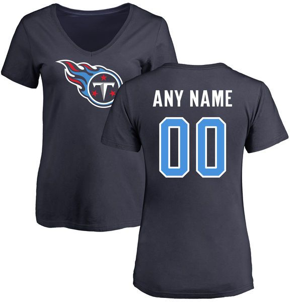 Women Tennessee Titans NFL Pro Line Navy Any Name and Number Logo Custom Slim Fit T-Shirt