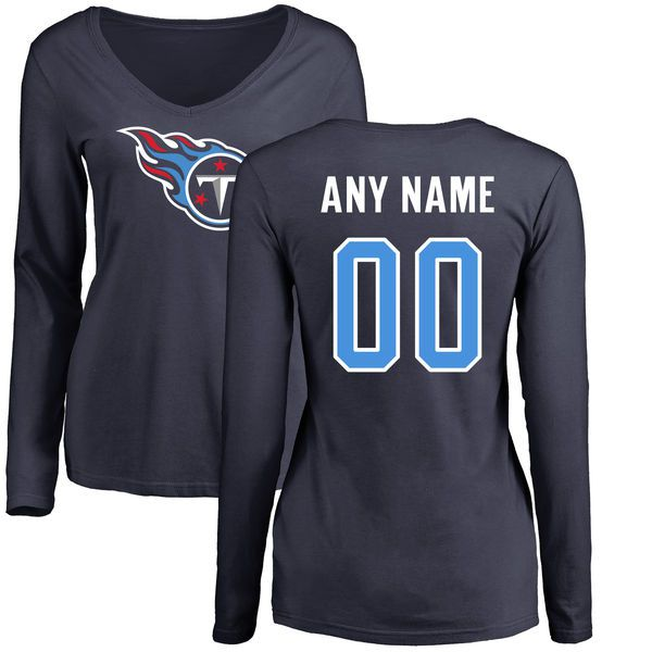 Women Tennessee Titans NFL Pro Line Navy Custom Name and Number Logo Slim Fit Long Sleeve T-Shirt