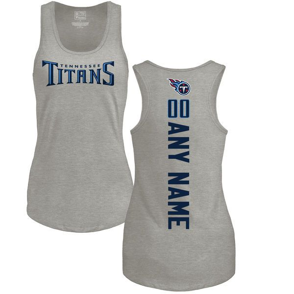 Women Tennessee Titans NFL Pro Line by Fanatics Branded Ash Custom Backer Tri-Blend Tank Top T-Shirt