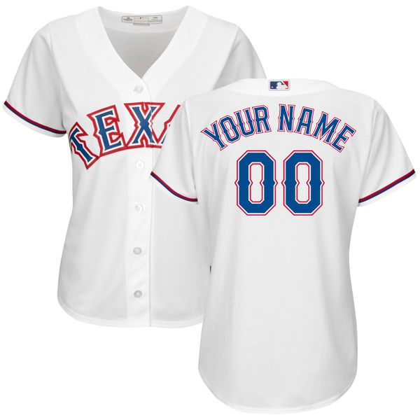 Women Texas Rangers Majestic White Home Cool Base Custom MLB Jersey
