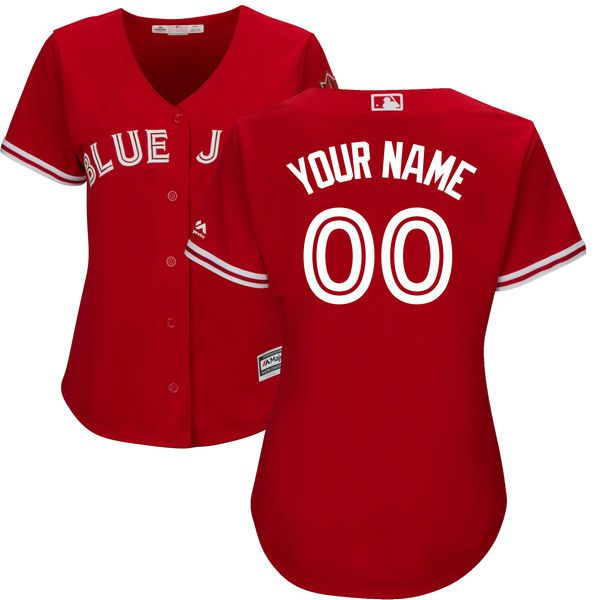 Women Toronto Blue Jays Majestic Red Scarlet 2017 Cool Base Replica Custom MLB Jersey