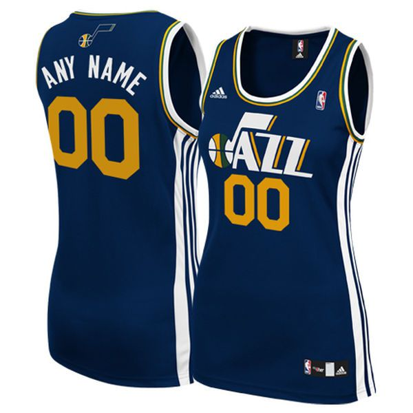 Women Utah Jazz Adidas Navy Custom Replica Road NBA Jersey