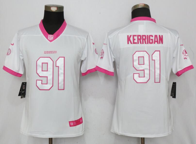 Women Washington Red Skins 91 Kerrigan Matthews White Pink Stitched New Nike Rush Fashion NFL Jersey