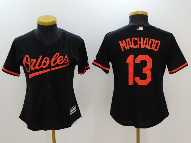 Womens 2017 MLB Baltimore Orioles 13 Machado Black Jerseys