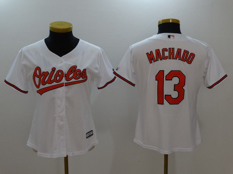 Womens 2017 MLB Baltimore Orioles 13 Machado White Jerseys