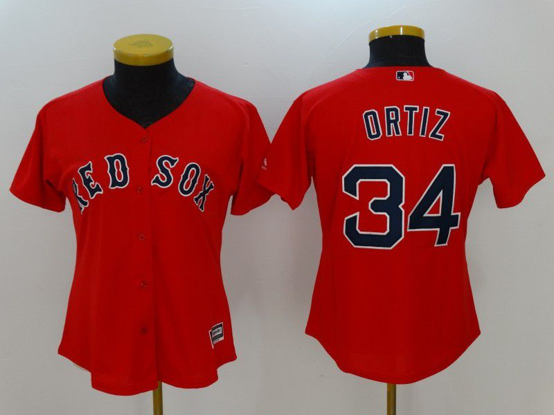 Womens 2017 MLB Boston Red Sox 34 Ortiz Red Jerseys