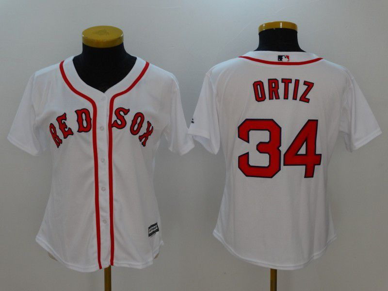 Womens 2017 MLB Boston Red Sox 34 Ortiz White Jerseys1
