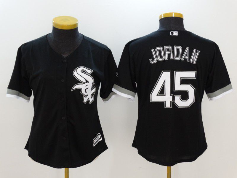 Womens 2017 MLB Chicago White Sox 45 Jordan Black Jerseys