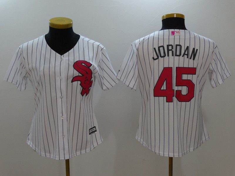 Womens 2017 MLB Chicago White Sox 45 Jordan White Jerseys