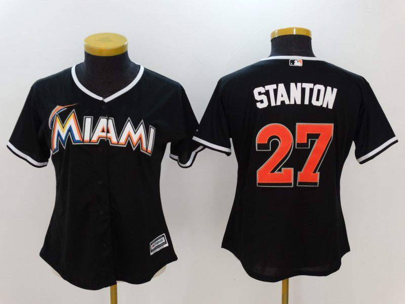 Womens 2017 MLB Florida Marlins 27 Stanton Black Jerseys