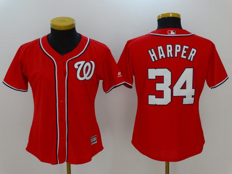 Womens 2017 MLB Washington Nationals 34 Harper Red Jerseys