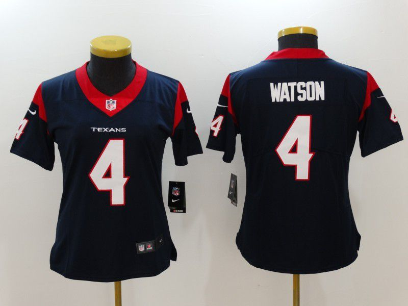 Womens Houston Texans 4 Watson Blue Nike Vapor Untouchable Limited NFL Jersey