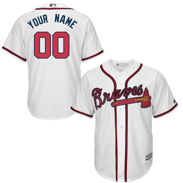 Youth Atlanta Braves Majestic White Custom Cool Base MLB Jersey