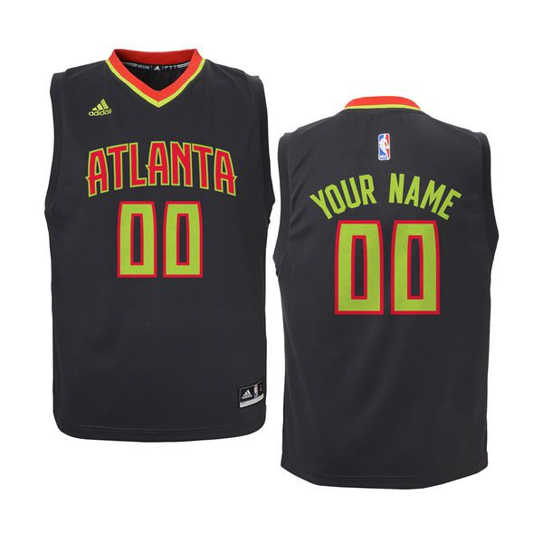Youth Atlanta Hawks Adidas Black Custom Road NBA Jersey