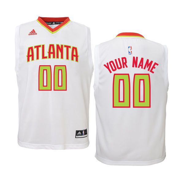 Youth Atlanta Hawks Adidas White Custom Replica Home NBA Jersey